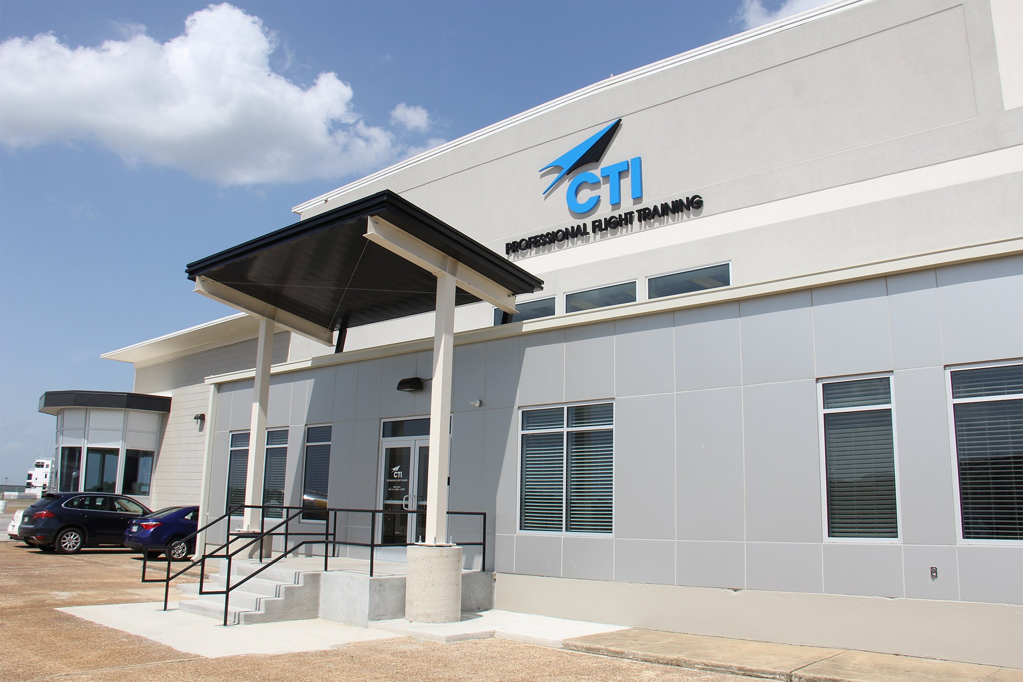 Exterior photo of CTI building at Millington Airport