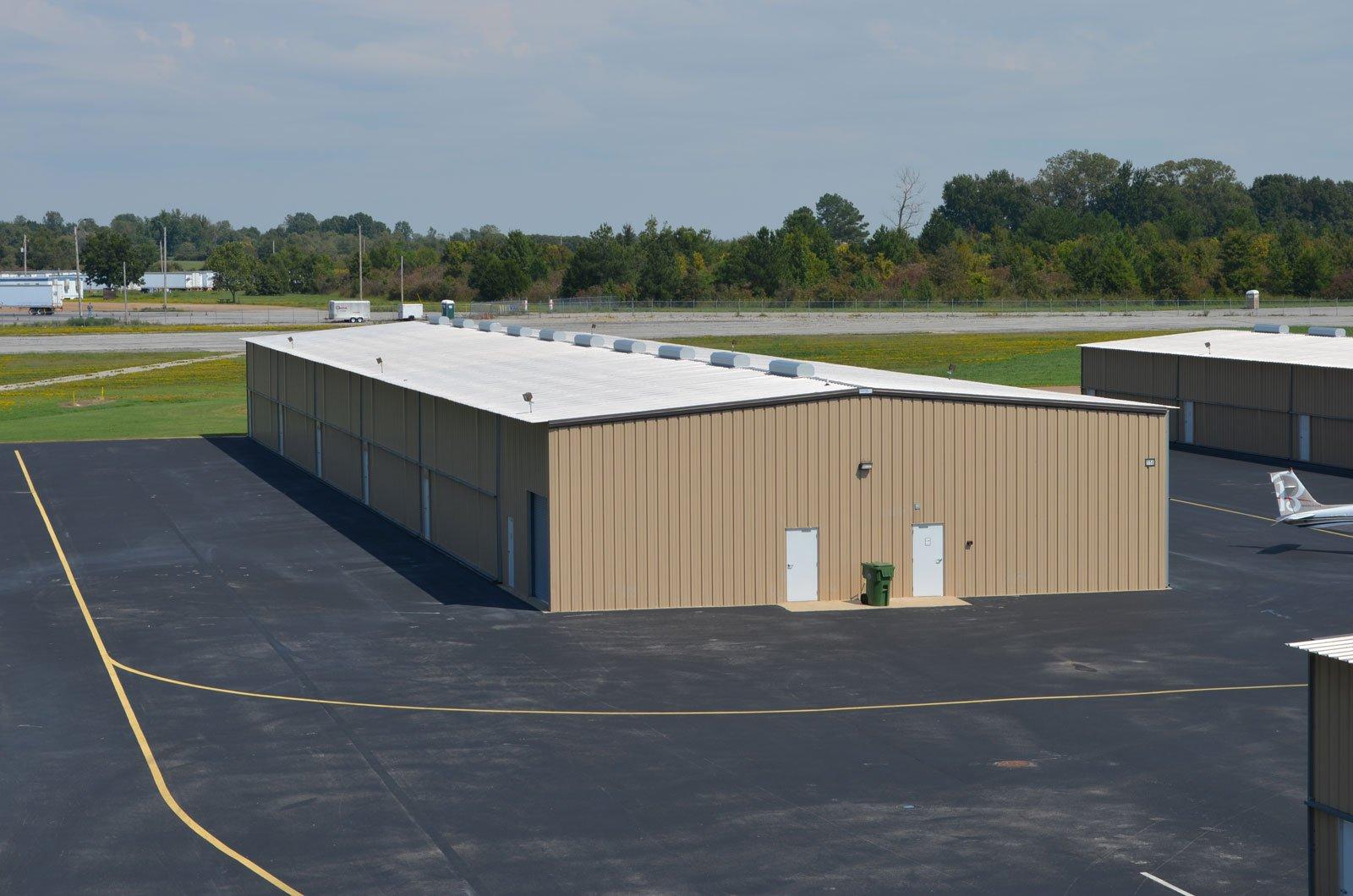 Image of a T-hangar at the Memphis Millington Airport