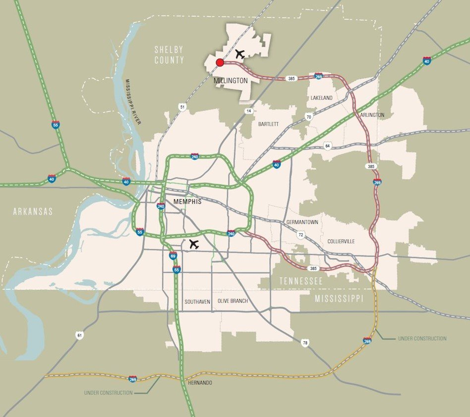 Map of Memphis, Tennessee Area showing Millington Airport ...
