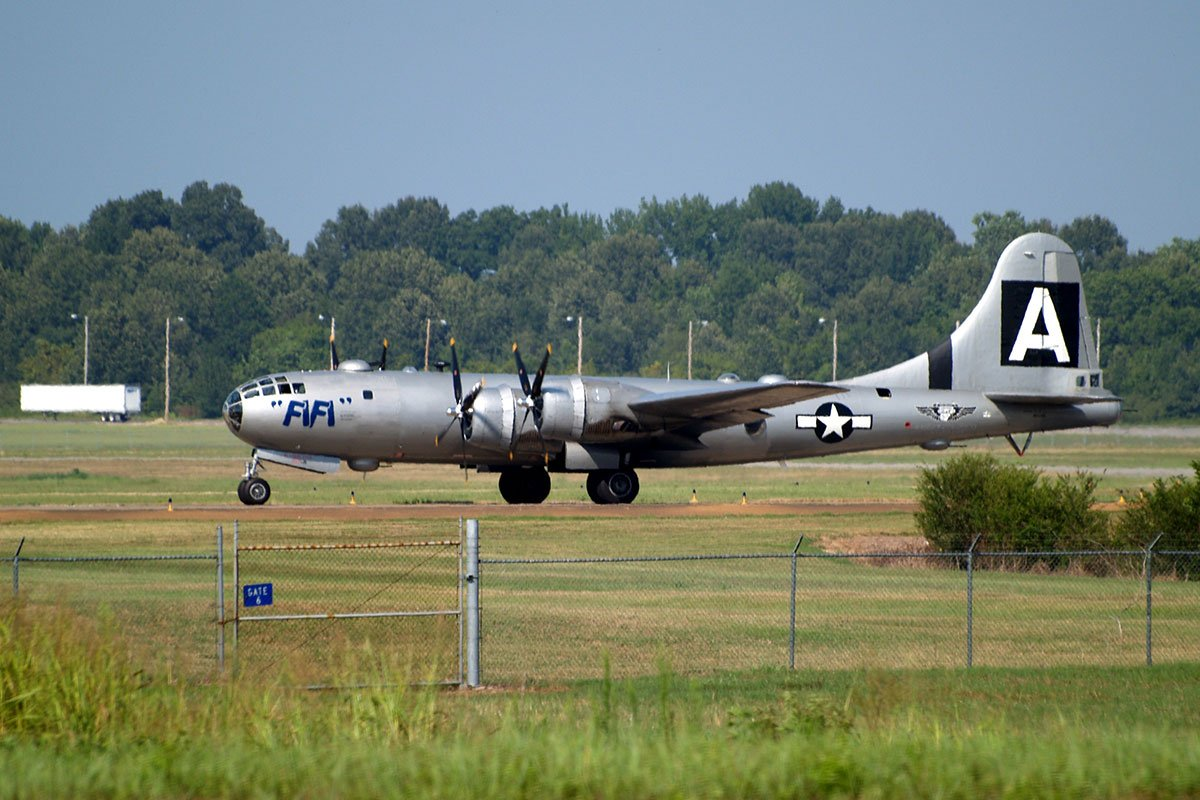 B-29 Superfortress taxing at the Memphis Millington Airport