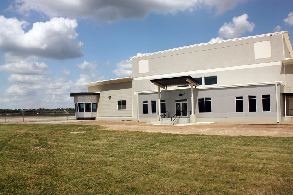 Exterior photo of the Millington Airport Corporate Terminal Building
