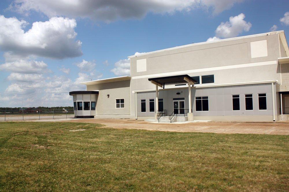 Exterior photo of the Millington Airport Corporate Terminal Building